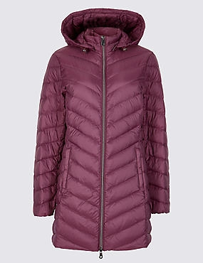 PETITE Down & Feather Coat with Stormwear™, PLUM, catlanding