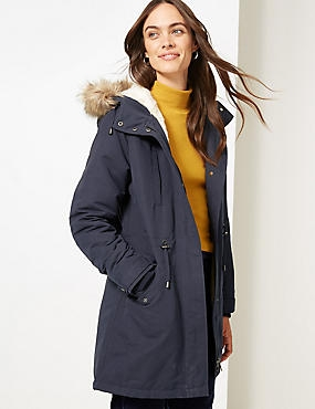 Faux Fur Parka with Stormwear™ , NAVY, catlanding