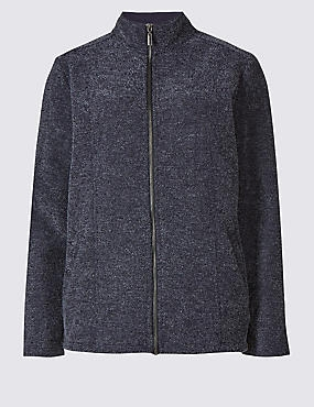 Boucle Fleece Jacket, NAVY, catlanding