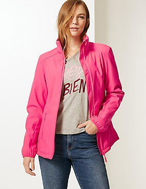 Funnel Neck Fleece Jacket with Stormwear™, BRIGHT PINK, catlanding