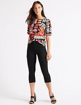 Mid Rise Super Skinny Leg Cropped Jeans , BLACK, catlanding