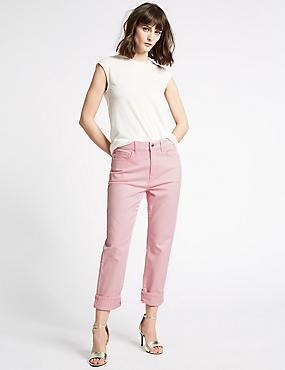 Straight Ankle Grazer Jeans, SUGAR PINK, catlanding