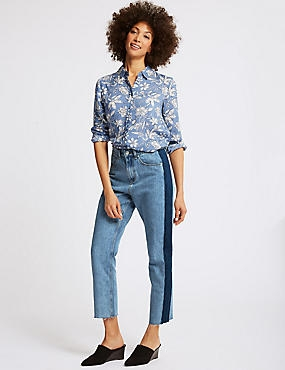 Mid Rise Straight Leg Jeans , MEDIUM BLUE, catlanding