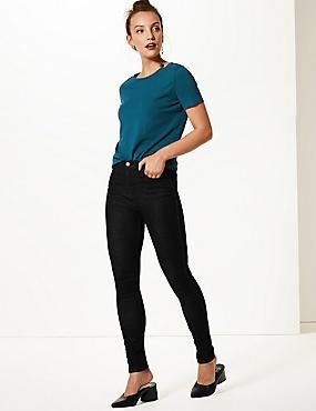 Mid Rise Skinny Leg Jeans, BLACK, catlanding