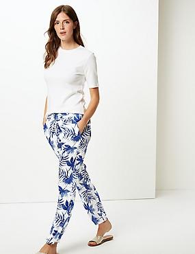 Printed Slim Leg Trousers  , BLUE MIX, catlanding