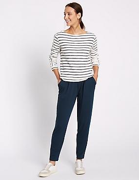 Jersey Tapered Leg Trousers, NAVY, catlanding