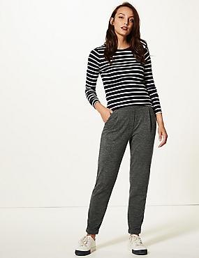Textured Jersey Tapered Leg Peg Trousers , GREY MIX, catlanding
