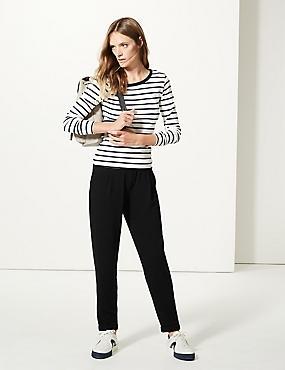 Jersey Tapered Leg Trousers , BLACK, catlanding