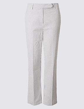 Pure Cotton Striped Trousers , NAVY MIX, catlanding