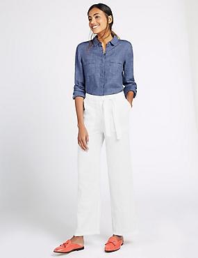 Pure Linen Wide Leg Trousers, WHITE, catlanding