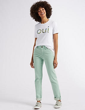 Relaxed Slim Mid Rise Jeans , PALE JADE, catlanding