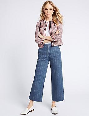 Striped Mid Rise Culotte Jeans, MEDIUM INDIGO, catlanding