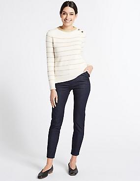 Frill Pocket Roma Rise Skinny Leg Jeans, DARK INDIGO, catlanding
