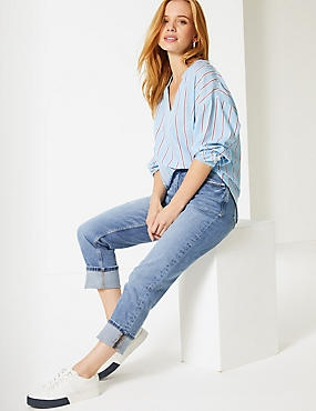 PETITE Mid Rise Relaxed Slim Jeans, MEDIUM BLUE, catlanding