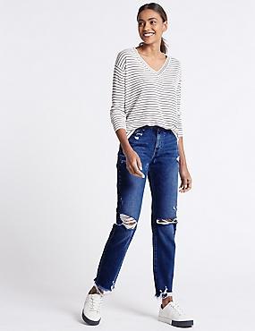 Skinny Leg Mid Rise Ripped Hem Jeans, BLUE, catlanding