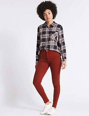 Mid Rise Super Skinny Jeans, BRIGHT RED, catlanding