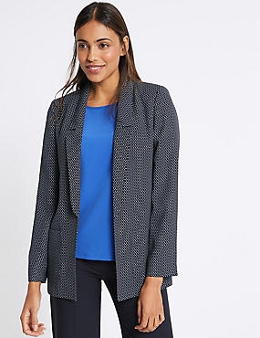 Printed Patch Pocket Blazer, NAVY MIX, catlanding