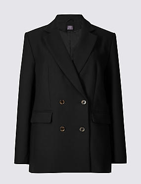 Double Breasted Oversized Blazer , BLACK, catlanding