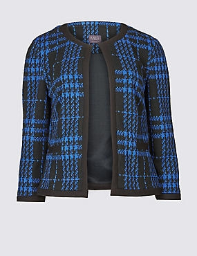 Checked 3/4 Sleeve Blazer, BLUE, catlanding