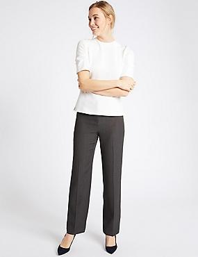 Straight Leg Trousers, CHARCOAL, catlanding