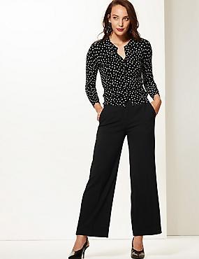 Wide Leg Ankle Grazer Trousers, BLACK, catlanding