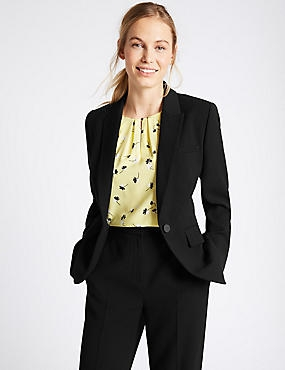 Single Button Crepe Blazer, BLACK, catlanding