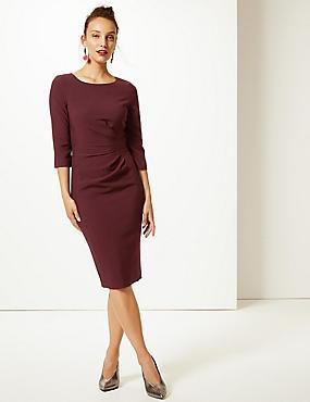 Twisted Side 3/4 Sleeve Bodycon Dress , DARK CHESTNUT, catlanding