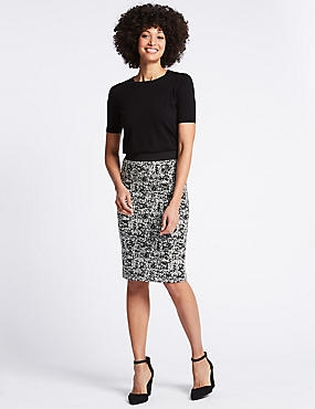 Cotton Blend Jacquard Print Pencil Skirt , , catlanding