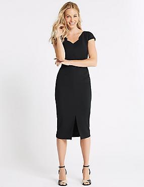 Short Sleeve Bodycon Dress , NAVY, catlanding