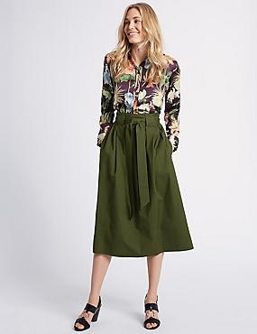 Cotton Rich A-Line Midi Skirt, DARK OLIVE, catlanding