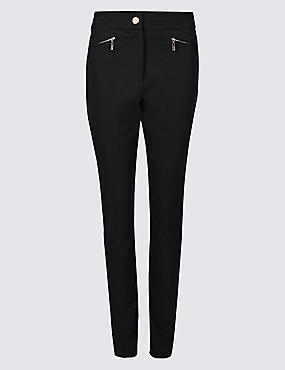 Cotton Rich Slim Leg Trousers , BLACK, catlanding