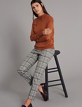 Checked Slim Leg Trousers , BROWN MIX, catlanding