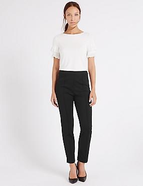 Slim Leg Flat Front Trousers, BLACK, catlanding