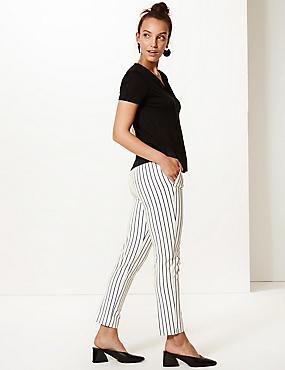 Cotton Blend Striped Slim Leg Trousers, IVORY MIX, catlanding
