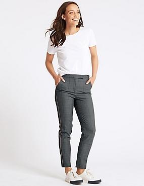 Checked Slim Leg Trousers , DARK GREY MIX, catlanding