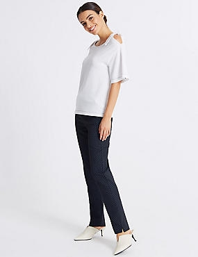 Cotton Blend Spotted Peg Trousers, NAVY MIX, catlanding