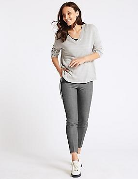 Side Stripe Slim Leg Trousers , GREY, catlanding