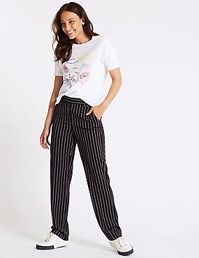 Striped Straight Leg Trousers , DARK NAVY MIX, catlanding