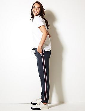 Side Stripe Tapered Leg Trousers, DARK NAVY MIX, catlanding
