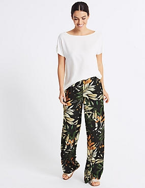 Floral Print Wide Leg Trousers , BLACK MIX, catlanding