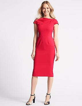Crepe Cap Sleeve Bodycon Dress , PINK, catlanding