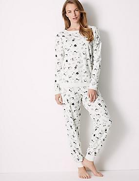 Cotton Rich Llama Print Pyjama Set, OATMEAL MIX, catlanding