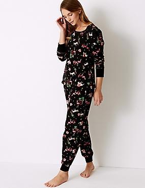 Cotton Rich Safari Print Pyjama Set, BLACK MIX, catlanding