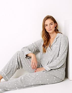 Modal Blend Star Print Pyjama Set, GREY MIX, catlanding