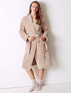 Textured Supersoft Kimono Dressing Gown, SOFT PINK, catlanding