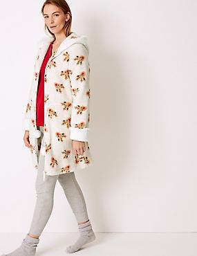 Textured Reindeer Print Dressing Gown, OATMEAL MIX, catlanding
