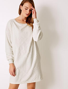 Fleece Textured Lounge Dress, IVORY, catlanding
