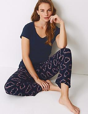 Pure Cotton Cloud Print Pyjama Set, NAVY MIX, catlanding