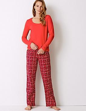 Pure Cotton Checked Long Sleeve Pyjama Set, RED MIX, catlanding