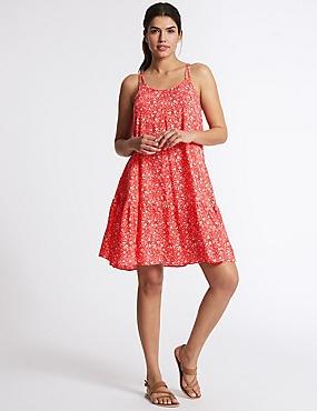 Woven Flippy Beach Dress, RED MIX, catlanding